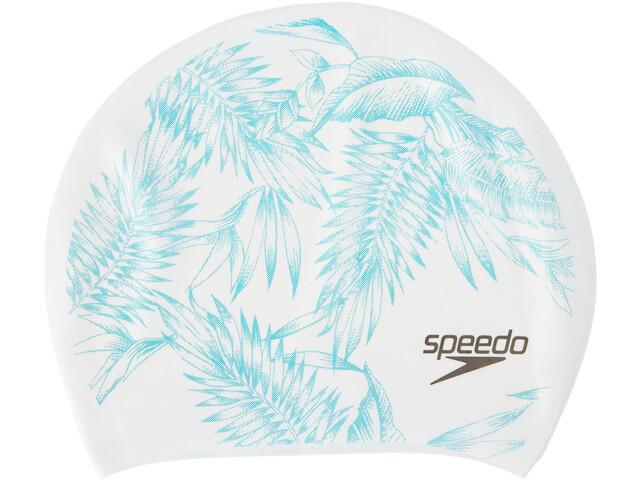 speedo Long Hair Printed Cap Women White/Jade